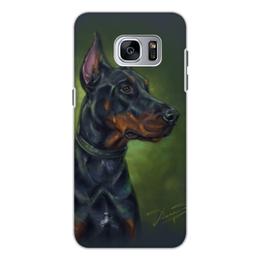 """Чехол для Samsung Galaxy S7, объёмная печать """"ДОБЕРМАН"""" - иллюстрация, собаки, породы"""
