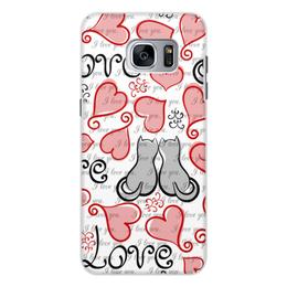 """Чехол для Samsung Galaxy S7, объёмная печать """"День Св. Валентина"""" - сердце, любовь, коты, день св валентина"""