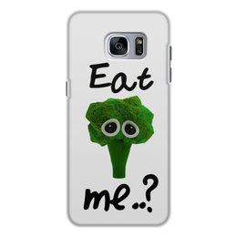 """Чехол для Samsung Galaxy S7, объёмная печать """"Eat me..?"""" - еда, печаль, мимими, брокколи, broccoli"""