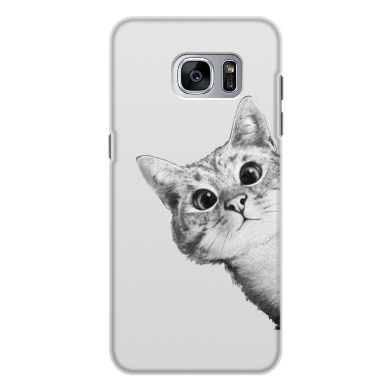 Чехол для Samsung Galaxy S7 Edge, объёмная печать Printio Любопытный кот