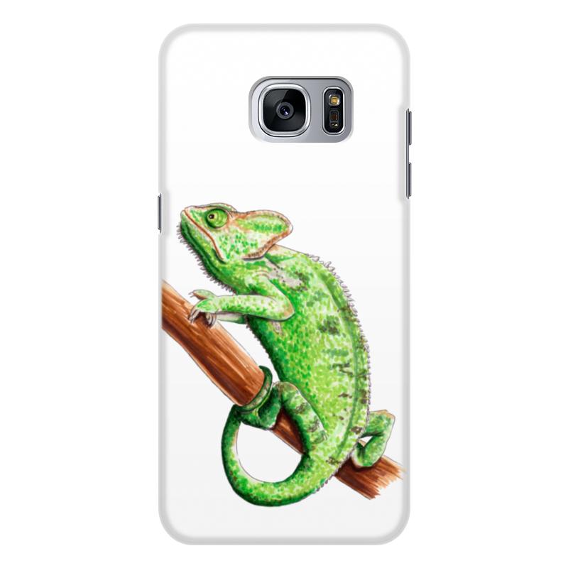 Чехол для Samsung Galaxy S7 Edge, объёмная печать Printio Зеленый хамелеон на ветке чехол для карточек хамелеон с узорами дк2017 111