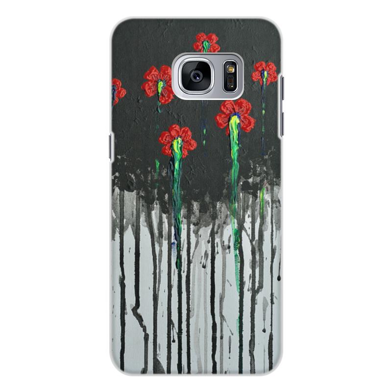 Чехол для Samsung Galaxy S7 Edge, объёмная печать Printio Красные маки кейс для назначение ssamsung galaxy кейс для samsung galaxy ультратонкий кейс на заднюю панель сплошной цвет мягкий тпу для s7 edge s7