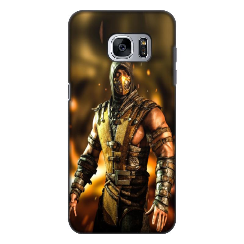 Чехол для Samsung Galaxy S7 Edge, объёмная печать Printio Mortal kombat (scorpion) кейс для назначение ssamsung galaxy кейс для samsung galaxy ультратонкий кейс на заднюю панель сплошной цвет мягкий тпу для s7 edge s7