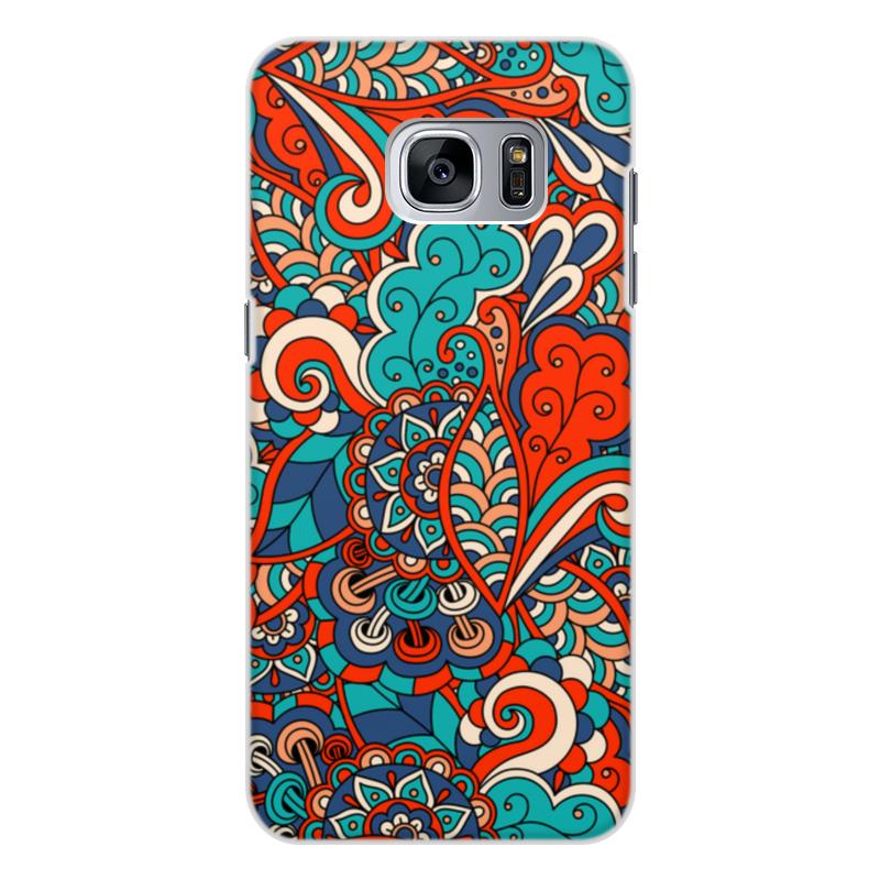 Чехол для Samsung Galaxy S7 Edge, объёмная печать Printio Дудл узор кейс для назначение ssamsung galaxy s7 edge s7 кошелек бумажник для карт со стендом чехол цветы твердый тпу для s7 edge s7 s6 edge