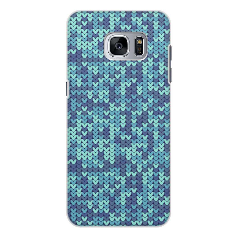 все цены на Чехол для Samsung Galaxy S7 Edge, объёмная печать Printio Голубой вязаный узор