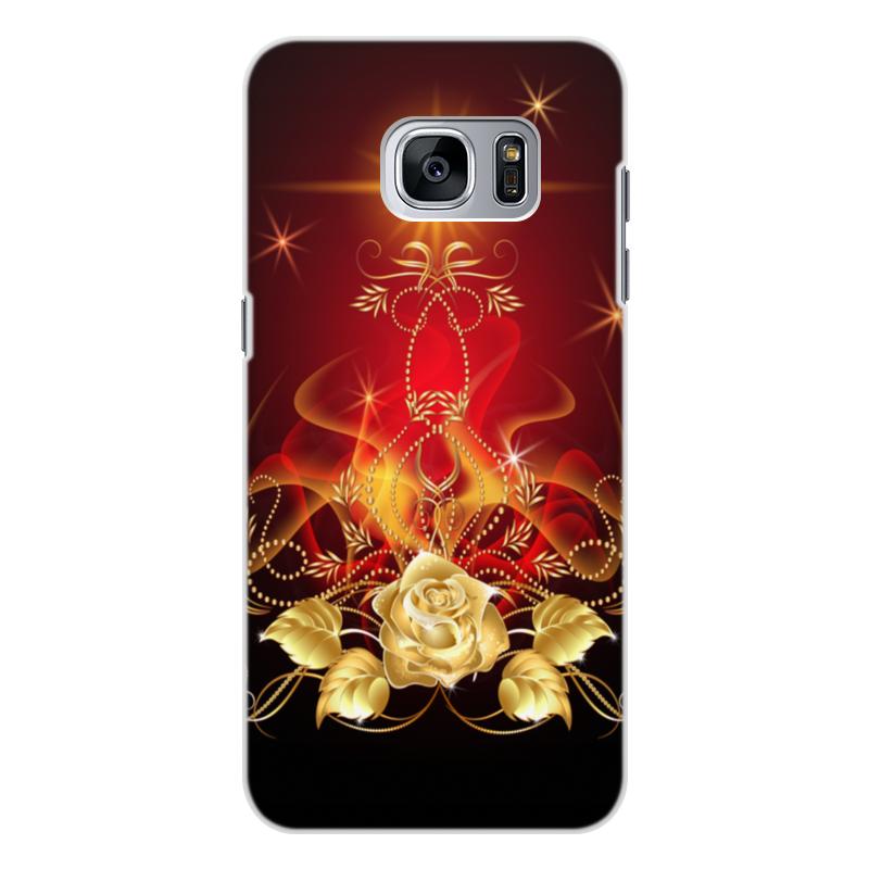 Чехол для Samsung Galaxy S7 Edge, объёмная печать Printio Золотая роза пламенная роза тюдоров