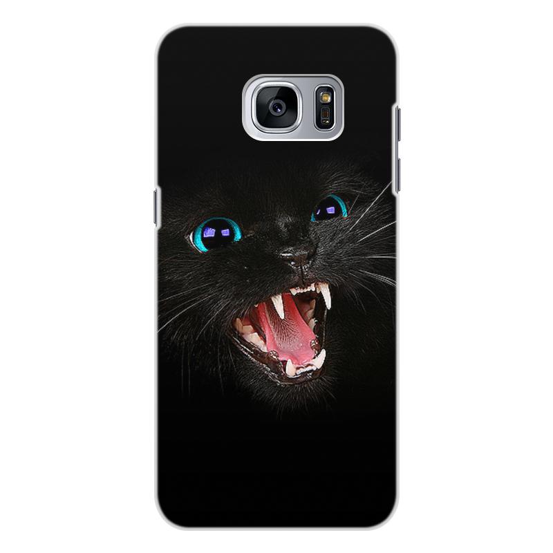 Чехол для Samsung Galaxy S7 Edge, объёмная печать Printio Черная кошка цена 2017