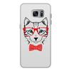 """Чехол для Samsung Galaxy S7 Edge, объёмная печать """"Кошка"""" - кошка, бабочка, красный, очки, cat"""