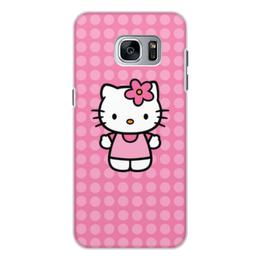 "Чехол для Samsung Galaxy S7 Edge, объёмная печать ""Kitty в горошек"" - мультик, hello kitty, мультфильм, для детей, привет китти"