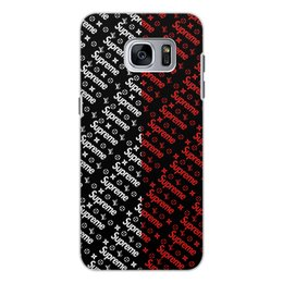 "Чехол для Samsung Galaxy S7 Edge, объёмная печать ""Supreme"" - узор, надписи, бренд, supreme, суприм"