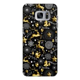 """Чехол для Samsung Galaxy S7 Edge, объёмная печать """"Олени"""" - новый год, олени"""