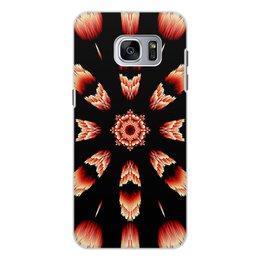 """Чехол для Samsung Galaxy S7 Edge, объёмная печать """"Костер"""" - огонь, подарок, абстракция, мандала, красное на черном"""