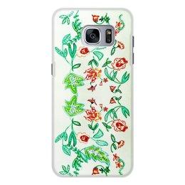 """Чехол для Samsung Galaxy S7 Edge, объёмная печать """"Дикие цветы"""" - лето, цветы, листья, розы"""