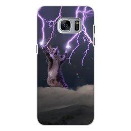 """Чехол для Samsung Galaxy S7 Edge, объёмная печать """"Кот Тесла"""" - мем, гроза, cat, котик, молния"""