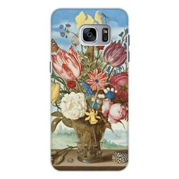 """Чехол для Samsung Galaxy S7 Edge, объёмная печать """"Букет цветов на полке (Амброзиус Босхарт)"""" - цветы, картина, живопись, натюрморт, босхарт"""