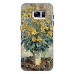 """Чехол для Samsung Galaxy S7 Edge, объёмная печать """"Топинамбур (картина Клода Моне)"""" - цветы, картина, импрессионизм, живопись, моне"""