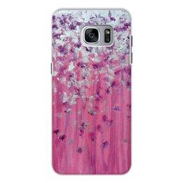 """Чехол для Samsung Galaxy S7 Edge, объёмная печать """"Розовое настроение"""" - любовь, розовый, нежность, серебро, женское"""