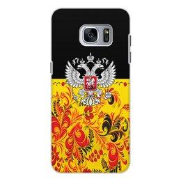 """Чехол для Samsung Galaxy S7 Edge, объёмная печать """"Россия"""" - цветы, русский, россия, герб, орел"""