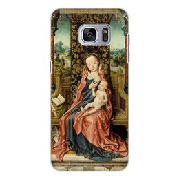 "Чехол для Samsung Galaxy S7 Edge, объёмная печать ""Мадонна с младенцем на троне (Альберт Баутс)"" - картина, живопись, возрождение, баутс"