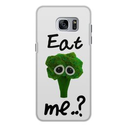 """Чехол для Samsung Galaxy S7 Edge, объёмная печать """"Eat me..?"""" - еда, печаль, мимими, брокколи, broccoli"""