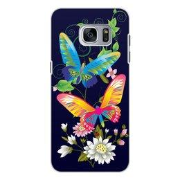 """Чехол для Samsung Galaxy S7 Edge, объёмная печать """"БАБОЧКИ ФЭНТЕЗИ"""" - бабочки, стиль, красота, яркость, цветочный узор"""