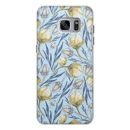 """Чехол для Samsung Galaxy S7 Edge, объёмная печать """"Цветы"""" - цветы, листья, рисунок, природа, акварель"""