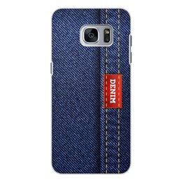 """Чехол для Samsung Galaxy S7 Edge, объёмная печать """"Джинсовый арт"""" - абстракция, джинсы, ткань, jeans, denim"""