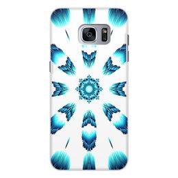 """Чехол для Samsung Galaxy S7 Edge, объёмная печать """"Костер Альт"""" - белый, синий, подарок, абстракция, мандала"""