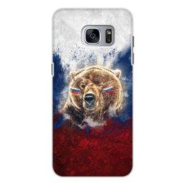 """Чехол для Samsung Galaxy S7 Edge, объёмная печать """"Русский Медведь"""" - флаг, триколор, россия, футбол, медведь"""