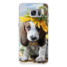 "Чехол для Samsung Galaxy S7 Edge, объёмная печать ""Собака"" - цветок, собака, животное"