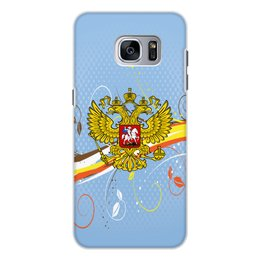 """Чехол для Samsung Galaxy S7 Edge, объёмная печать """"Россия"""" - цветы, россия, герб, орел, хохлома"""