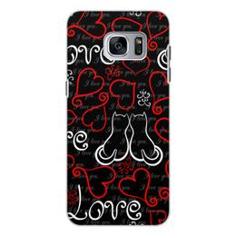 """Чехол для Samsung Galaxy S7 Edge, объёмная печать """"День Св. Валентина"""" - сердце, любовь, коты, день св валентина"""
