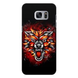 "Чехол для Samsung Galaxy S7 Edge, объёмная печать ""Wolf & Fire"" - огонь, волк, fire, дым, wolf"