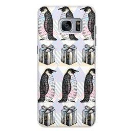 """Чехол для Samsung Galaxy S7 Edge, объёмная печать """"пингвины"""" - новый год, пингвины, зима, птицы, подарки"""