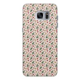 """Чехол для Samsung Galaxy S7 Edge, объёмная печать """"Праздник"""" - сердце, звезды, снег, игрушки, елки"""