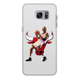 """Чехол для Samsung Galaxy S7 Edge, объёмная печать """"Michael Jordan Cartooney"""" - 23, чикаго, бык, chicago bulls, джордан"""