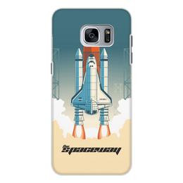"""Чехол для Samsung Galaxy S7 Edge, объёмная печать """"Покорение космоса"""" - космос, ракета, астрономия, шатл, thespaceway"""