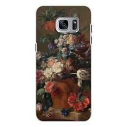 "Чехол для Samsung Galaxy S7 Edge, объёмная печать ""Ваза с цветами (Ян ван Хёйсум)"" - цветы, живопись, натюрморт, ян ван хёйсум"