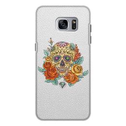 """Чехол для Samsung Galaxy S7 Edge, объёмная печать """"Череп"""" - skull, череп, цветы"""
