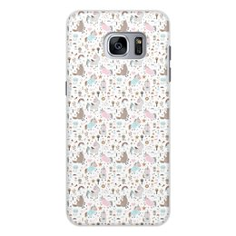 """Чехол для Samsung Galaxy S7 Edge, объёмная печать """"Единороги"""" - животные, лошадь, радуга, мульт, единорог"""