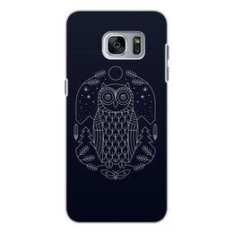 """Чехол для Samsung Galaxy S7 Edge, объёмная печать """"Ночной страж"""" - ночь, сова, геометрия, минимализм, страж"""