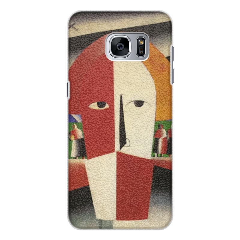 Чехол для Samsung Galaxy S7 Edge кожаный Printio Голова крестьянина (казимир малевич)