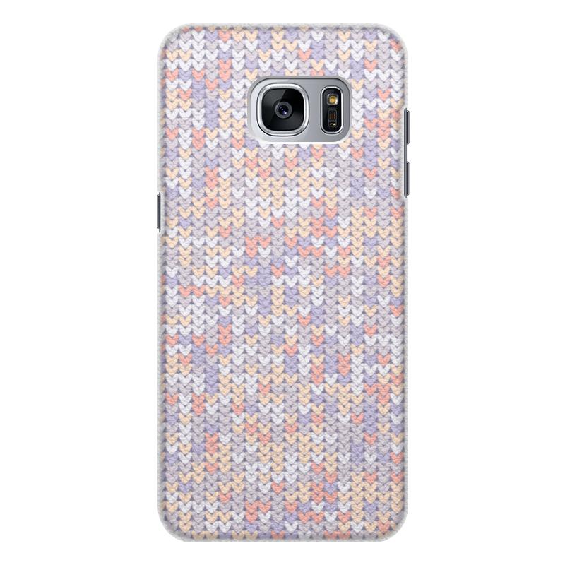 Чехол для Samsung Galaxy S7 Edge кожаный Printio Сиреневый вязаный узор