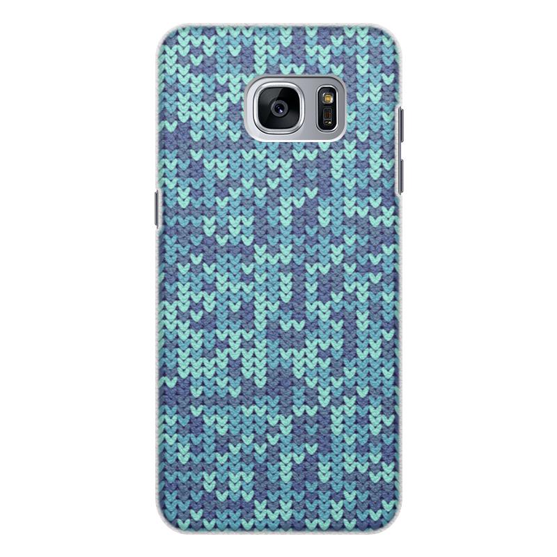 Чехол для Samsung Galaxy S7 Edge кожаный Printio Голубой вязаный узор чехол для samsung galaxy s7 edge кожаный printio вершина