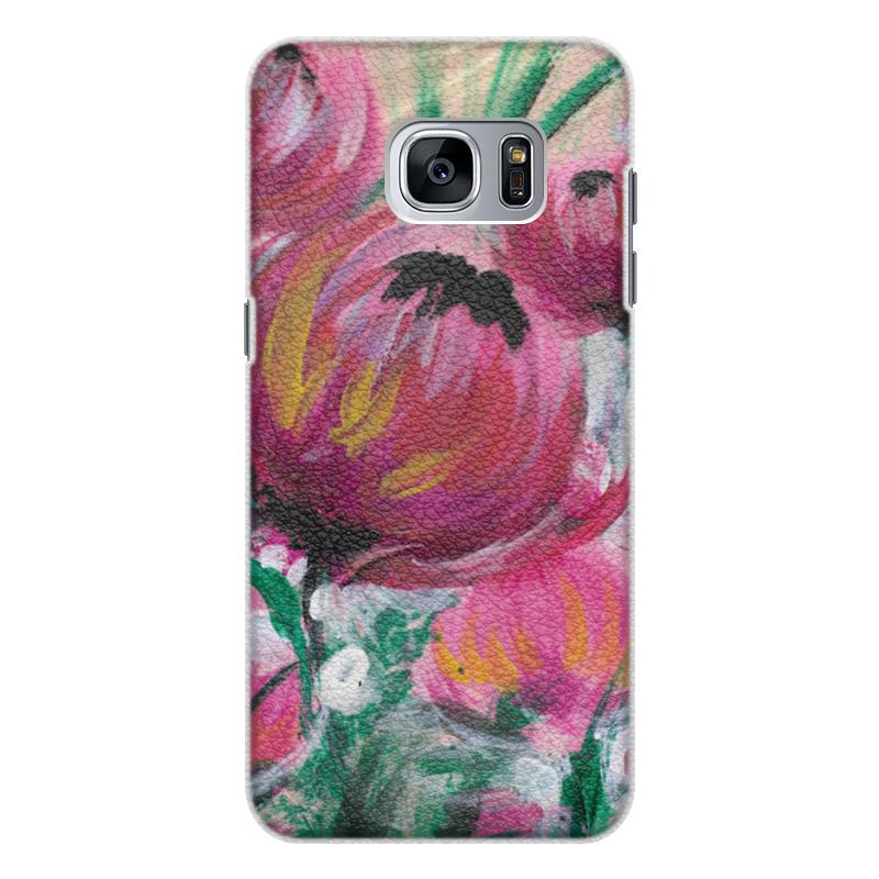Чехол для Samsung Galaxy S7 Edge кожаный Printio Полевые цветы st баллон для автоматического освежителя воздуха полевые цветы 39 мл