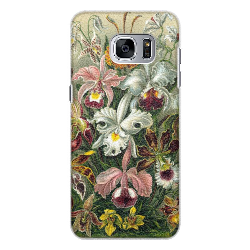 Чехол для Samsung Galaxy S7 Edge кожаный Printio Орхидеи (orchideae, ernst haeckel) самые дешевые орхидеи в москве