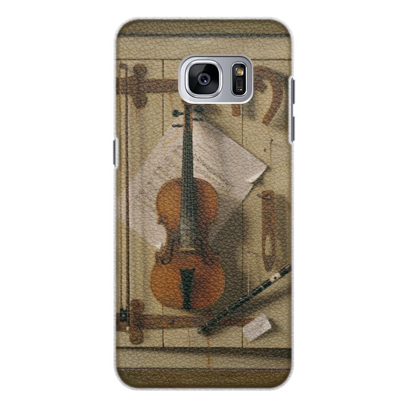 Чехол для Samsung Galaxy S7 Edge кожаный Printio Натюрморт со скрипкой (уильям харнетт) пазл castor land 68 47см натюрморт со скрипкой и живописью 1000эл