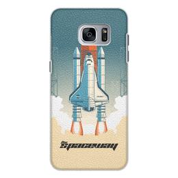 """Чехол для Samsung Galaxy S7 Edge кожаный """"Покорение космоса"""" - космос, ракета, астрономия, шатл, thespaceway"""