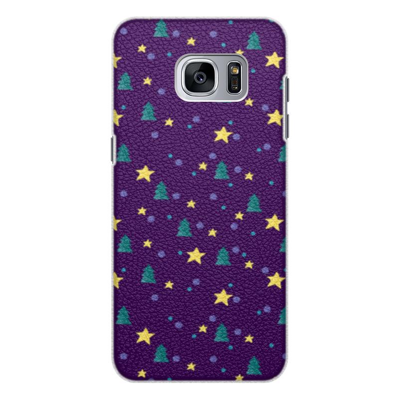 Чехол для Samsung Galaxy S7 кожаный Printio Елки и звезды