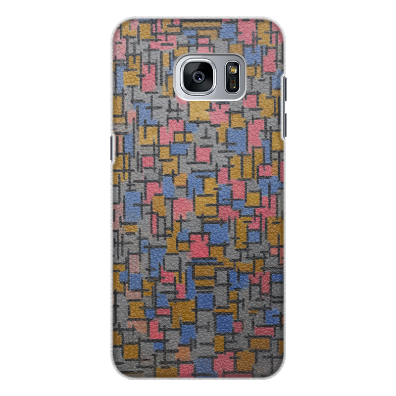 Чехол для Samsung Galaxy S7 кожаный Printio Композиция (питер мондриан) чехол для карточек пит мондриан дк2017 110